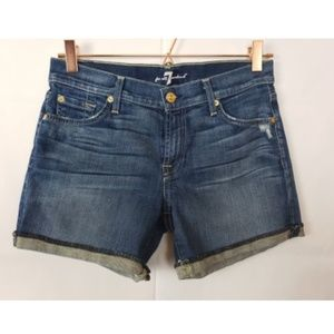 7 For All Mankind Mid RollUp Denim Short